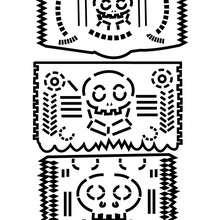 Uma guirlanda de papél com esqueletos para colorir e recortar
