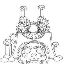 Desenho de um altar do Dia dos Mortos para colorir