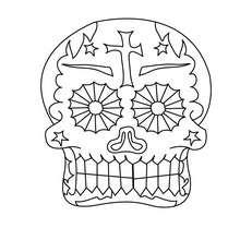 Desenho de um esqueleto do Dia dos Mortos mexicano para colorir