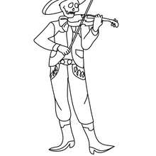 Desenho de um esqueleto músico para colorir