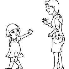 Desenho de uma mãe levando sua filha pra escola para colorir