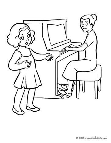 Desenho para colorir de uma aula de música