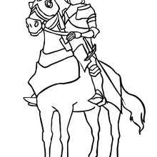 Desenho de um cavaleiro na sua armadura para colorir
