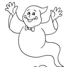 Desenho de um fantasma do Dia das Bruxas voando para colorir