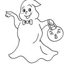 Desenho de um fantasma do Dia das Bruxas para colorir