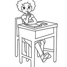 Desenho de uma estudante pensando para colorir