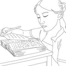 Desenho de uma aluna estudando para colorir