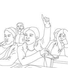 Desenho de um aluno levantando a mão para colorir