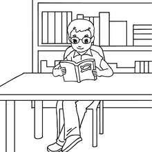 Desenho de um aluno na biblioteca para colorir