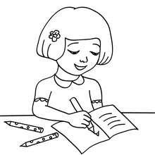 Desenho de uma aluna fazendo o dever de casa  para colorir