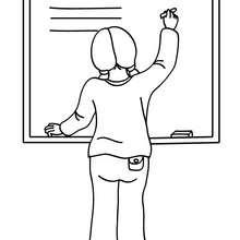 Desenho de uma professora escrevendo no quadro para colorir