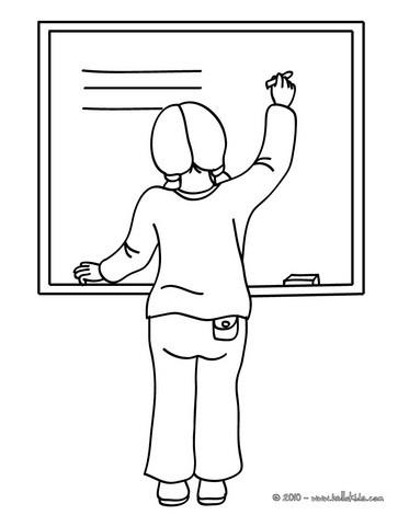 Desenhos Para Colorir De Desenho De Uma Professora Escrevendo No
