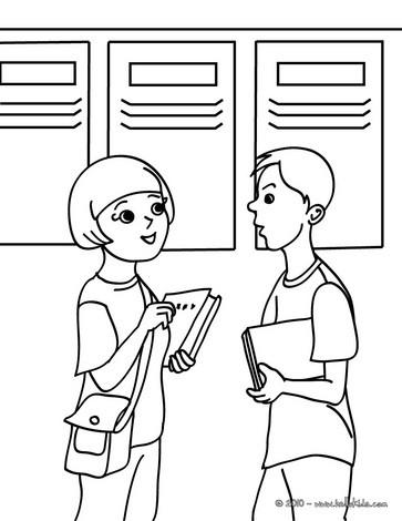 Desenho de estudantes conversando para colorir