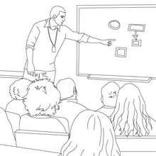 Desenho de alunos escutando o professor  para colorir