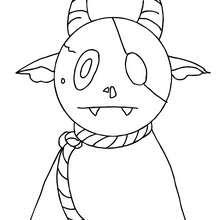 Desenho de um monstro do Dia das Bruxas esquisito para colorir