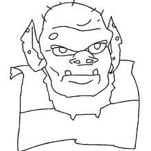 Desenho do rosto de um monstro terrível do Dia das Bruxas para colorir