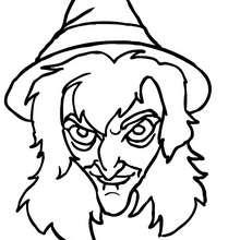 Desenho do rosto assustador de uma bruxa para colorir