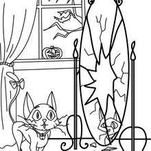 Desenho de um gato preto com um espelho quebrado para colorir