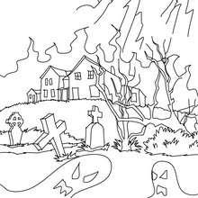 Desenho de uma velha casa mal asssombrada para colorir