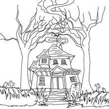 Desenho de uma estranha casa mal asssombrada para colorir