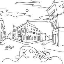 Desenho de casas mal asssombradas na cidade para colorir