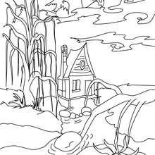 Desenho de uma pequena casa mal asssombrada para colorir