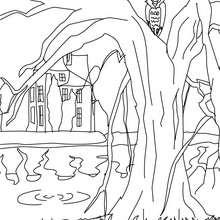 Desenho de um castelo mal asssombrado esquisito para colorir
