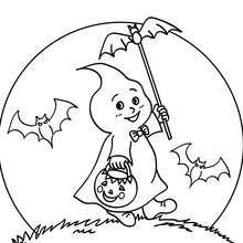 Desenho de fantasmas e morcegos para colorir
