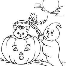 Desenho de fantasmas e uma abóbora para colorir