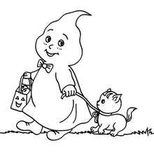 Desenho de um fantasma com um gato para colorir