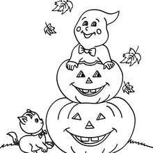 Desenho de abóboras e fantasmas para colorir