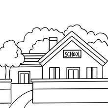Desenho de uma escola  para colorir