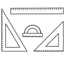 Desenho do material escolar para fazer geometria para colorir