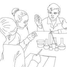 Desenho de uma aula de sciências para colorir