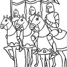 Desenho de cavaleiros em seus cavalos para colorir
