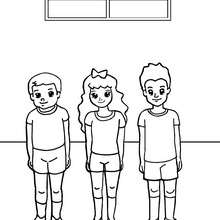 Desenho de crianças prontas para uma atividade física para colorir