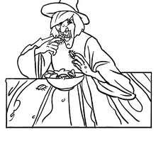 Desenho de uma bruxa feia comendo uma barata para colorir