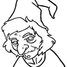 Desenho do rosto horrível de uma bruxa para colorir