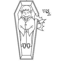 Desenho do Dácula dormindo dentro de um caixão para colorir