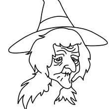 Desenho de uma bruxa muito velha para colorir