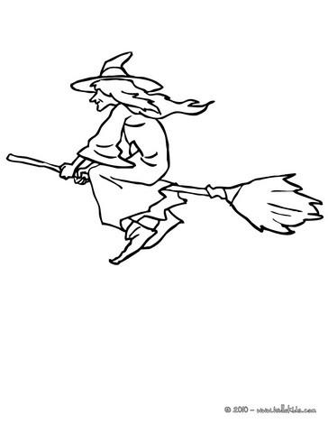 Desenho de uma bruxa voando na sua vassoura para colorir