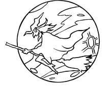 Desenho de uma bruxa voando sob o luar para colorir