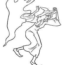Desenho de uma bruxa assustada com um fantasma para colorir