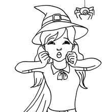 Desenho de uma bruxa assustada com uma aranha para colorir