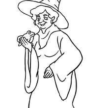 Desenho de uma bruxa segurando um sapo para colorir