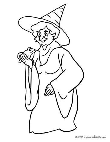 Desenhos Para Colorir De Desenho De Uma Bruxa Segurando Um Sapo