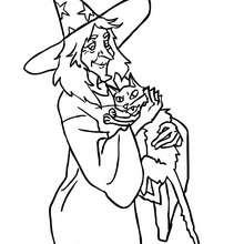 Desenho de uma bruxa abraçando um gato para colorir