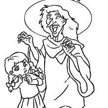 Desenho de uma bruxa rindo com as crianças para colorir
