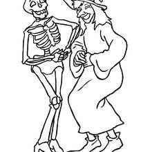 Desenho de uma bruxa rindo com um esqueleto para colorir