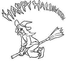 Feliz Dia das Bruxas com uma bruxa na sua vassoura voadora para colorir